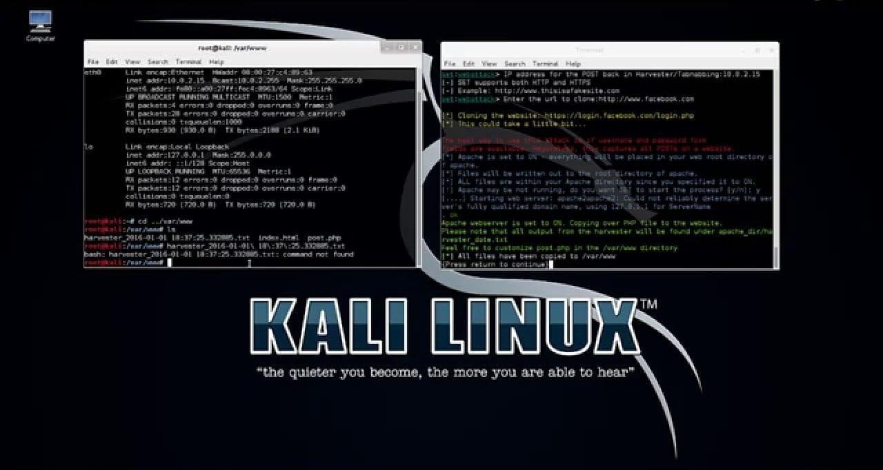 Phishing attack demo using Kali Linux
