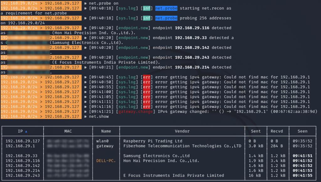 bettercap net.probe | Cybervie